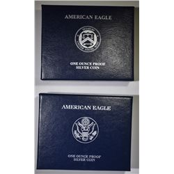 2010 & 2011 PROOF AMERICAN SILVER EAGLES BOXES/COA