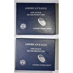 2012 & 13 PROOF AMERICAN SILVER EAGLES BOXES/COA