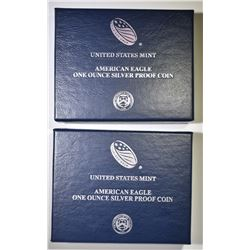 2014 & 15 PROOF AMERICAN SILVER EAGLES BOXES/COA