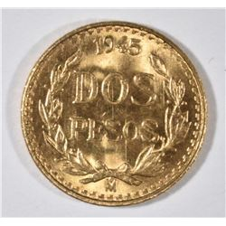 1945 MEXICO 2 PESOS GOLD, BU