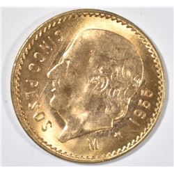 1955 MEXICO 5 PESOS GOLD, BU