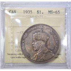 1935 SILVER DOLLAR CANADA  ICCS GEM BU