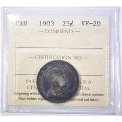 1903 SILVER QUARTER  CANADA  ICCS VF