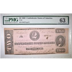 1862 $2 CONFEDERATE STATES OF AMERICA  PMG 63