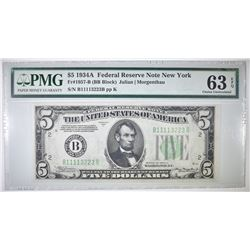 1934A $5 FEDERAL RESERVE NOTE  PMG 63 EPQ