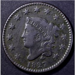1827 MATRON HEAD LARGE CENT VF/XF