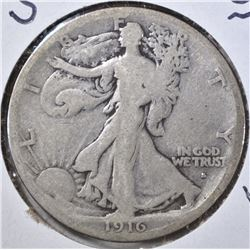1916-S OBVERSE WALKING LIBERTY HALF, VG