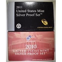 2010 & 2011 SILVER PROOF SETS IN ORIG PACKAGING