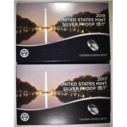2017 & 2018 SILVER PROOF SETS IN ORIG. PACKAGING