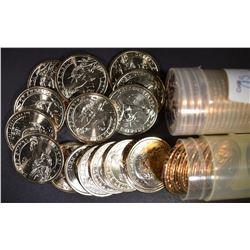 2 ROLLS OF CH BU PRES. DOLLARS- 2007-D JOHN ADAMS