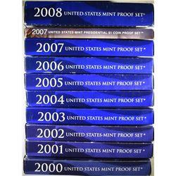 2000-2008 U.S. PROOF SETS ORIG PACKAGING