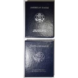 1998 & 99 PROOF AMERICAN SILVER EAGLES BOXES/COA