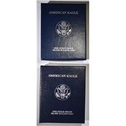2000 & 01 PROOF AMERICAN SILVER EAGLES BOXES/COA