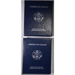 2004 & 05 PROOF AMERICAN SILVER EAGLES BOXES/COA