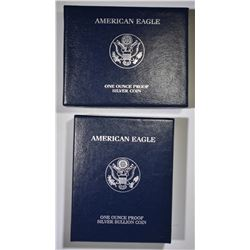 2006 & 07 PROOF AMERICAN SILVER EAGLES BOXES/COA