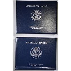 2008 & 10 Pf AMERICAN SILVER EAGLES BOXES/COA