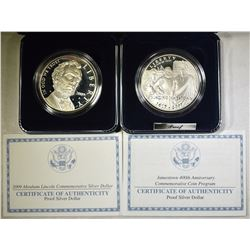 2- PROOF SILVER DOLLAR COMMEMS IN BOX W/ COA