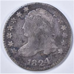 1824/2 BUST DIME, VG scratches