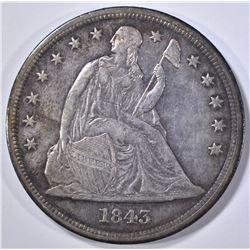 1845 SEATED LIBERTY DOLLAR AU NICE OLD TONING