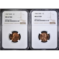 1966 & 1967 SMS LINCOLN CENTS, NGC MS-67 RD