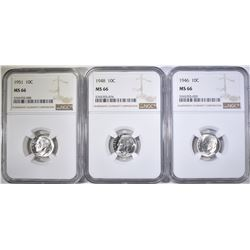 1946, 48, & 51 ROOSEVELT DIMES, NGC MS-66