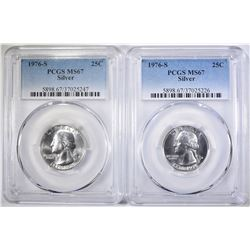 2- 1976-S SILVER WASH. QUARTERS, PCGS MS-67
