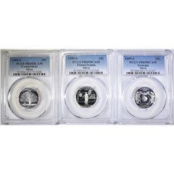 3- 1999-S SILVER STATE QUARTERS- PCGS PR69DCAM