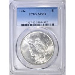 1922 PEACE DOLLAR, PCGS MS-63