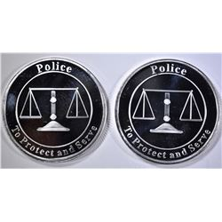 """2-POLICE """"TO PROTECT & SERVE 1-Oz SILVER ROUNDS"""