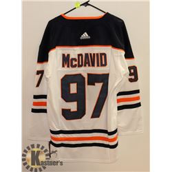 NEW LARGE OILERS AWAY JERSEY WHITE #97 MCDAVID.