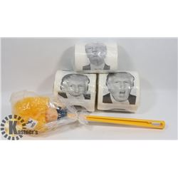 DONALD TRUMP TOILET BRUSH AND NOVELTY TOILET PAPER