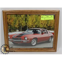1973 CAMARO X/28 COUPE PICTURE IN FRAME.