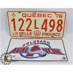QUEBEC 1976 LICENSE PLATE WITH COLORADO AVALANCHE