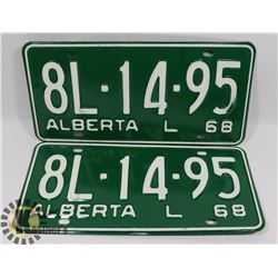 MATCHING PAIR OF 1968 NEW OLD STOCK LICENSE PLATES