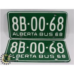 MATCHING PAIR 1968 NEW OLD STOCK ALTA LICENSE PLATES