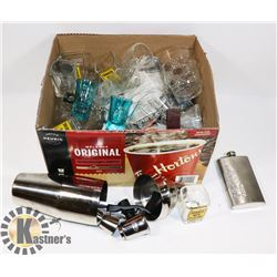 BOX OF ASSORTED BAR ACCESSORIES INCL SHOT GLASSES,