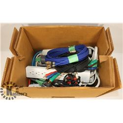 BOX OF POWER BARS AND OTHER CABLES