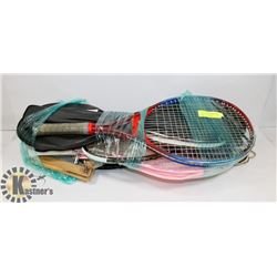 LOT OF RACQUETBALL RACQUETS, BADMINTON RACQUETS
