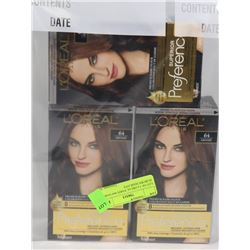 LOT OF 3 LOREAL PARIS #64 DARK AUBURN HAIR DYE