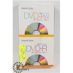 MEMOREX DVD +RW & D/D-R 10 PACK SLIMCASE