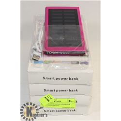 LOT OF 4 NEW SOLAR CHARGER BANKS SLIM METAL