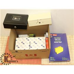 BOX OF ASSORTED PAPER AND LOCK BOX.