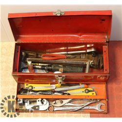 RED METAL TOOL BOX WITH CONTENTS