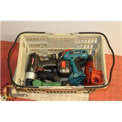 CRATE OF ASSORTED CORDLESS DRILLS INCLUDING