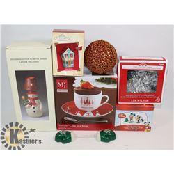 BOX OF CHRISTMAS DECORATIONS INCLUDING DISNEY