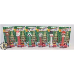 LOT OF 6 DIFFERENT CHRISTMAS THEMED PEZ DISPENSERS