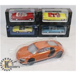 FLAT WITH 4 DIE CAST CARS AND ONE MODEL CAR