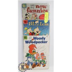 LOT OF 3- 1950'S WOODYWOOD PECKER 10 CENT COMICS