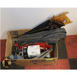 BOX OF ASSORTED TOOLS INCL HAMMERS AND SAWS.