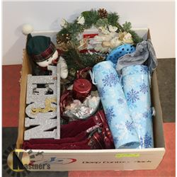 BOX W/CHRISTMAS ITEMS INCL. CANDLE